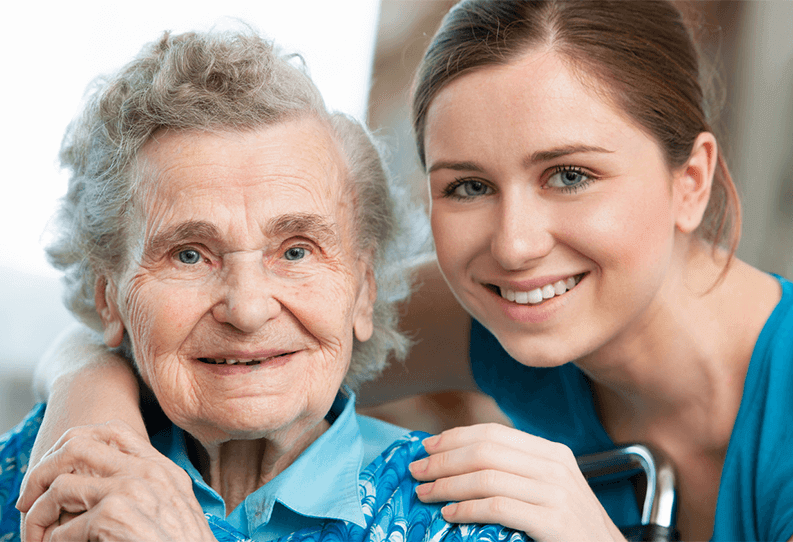 A senior and a caregiver